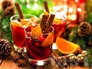 Рецепта Боровинково греяно вино със сок от червени боровинки, ябълки, канела, джинджифил и карамфил